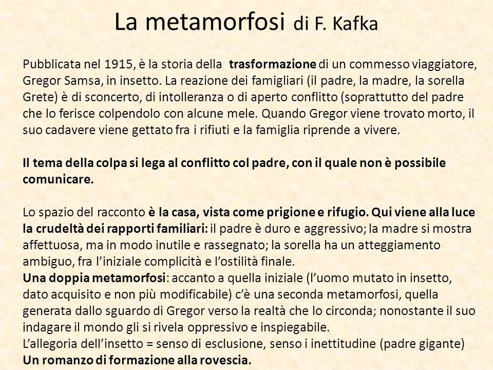 La metamorfosi di F. Kafka Pubblicata nel 1915, è la storia della trasformazione di un commesso viaggiatore, Gregor Samsa, in insetto. La reazione dei