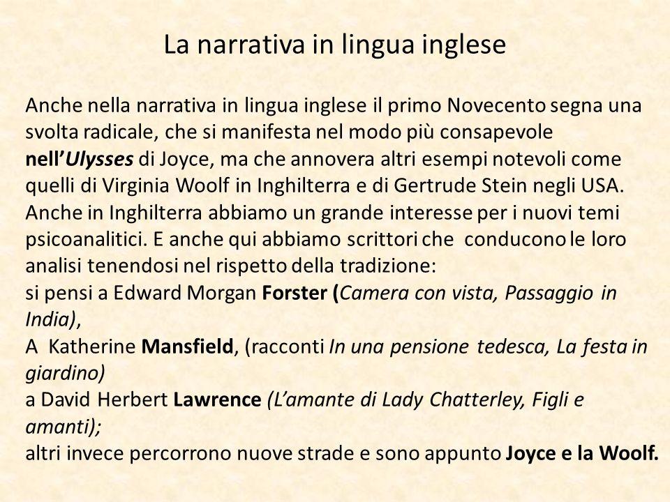 La narrativa in lingua inglese Anche nella narrativa in lingua inglese il primo Novecento segna una svolta radicale, che si manifesta nel modo più con