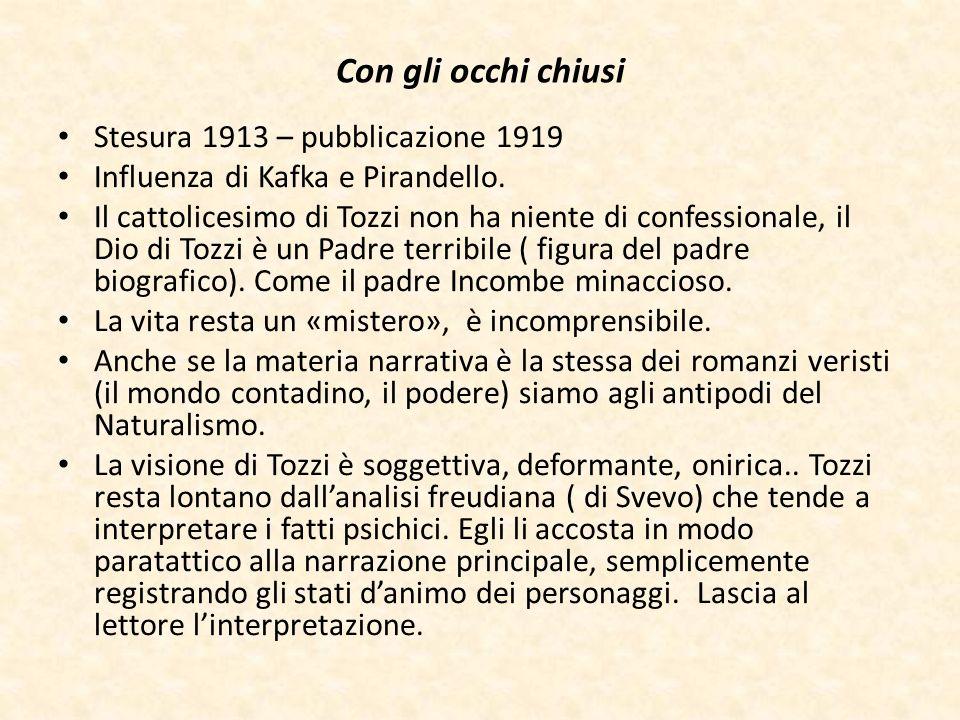 Con gli occhi chiusi Stesura 1913 – pubblicazione 1919 Influenza di Kafka e Pirandello. Il cattolicesimo di Tozzi non ha niente di confessionale, il D
