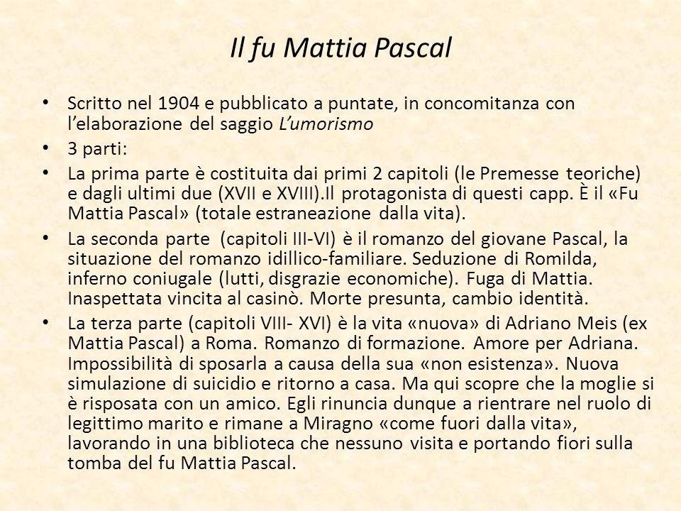 Il fu Mattia Pascal Scritto nel 1904 e pubblicato a puntate, in concomitanza con lelaborazione del saggio Lumorismo 3 parti: La prima parte è costitui