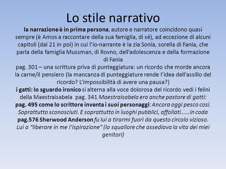 Lo stile narrativo la narrazione è in prima persona, autore e narratore coincidono quasi sempre (è Amos a raccontare della sua famiglia, di sé), ad ec