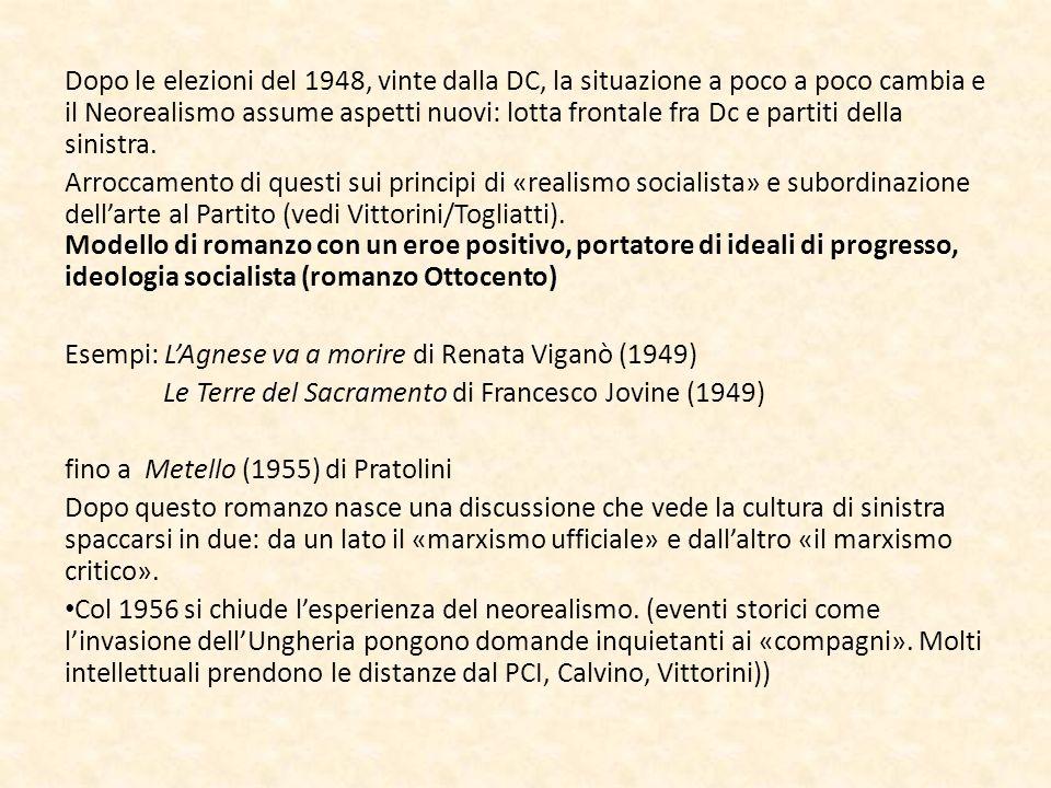Dopo le elezioni del 1948, vinte dalla DC, la situazione a poco a poco cambia e il Neorealismo assume aspetti nuovi: lotta frontale fra Dc e partiti della sinistra.