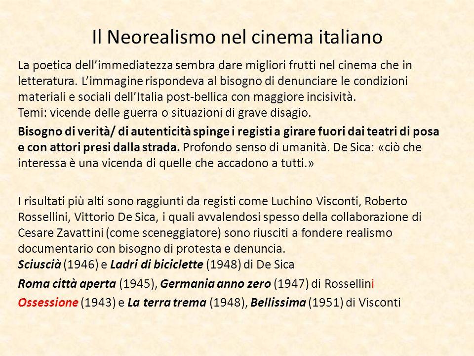 Il Neorealismo nel cinema italiano La poetica dellimmediatezza sembra dare migliori frutti nel cinema che in letteratura. Limmagine rispondeva al biso