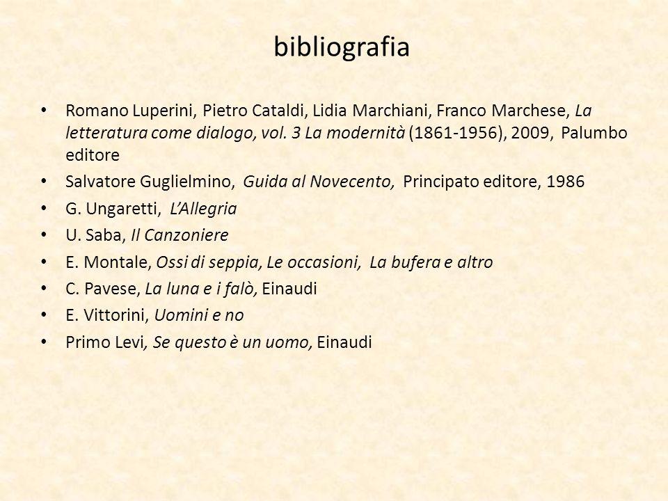 bibliografia Romano Luperini, Pietro Cataldi, Lidia Marchiani, Franco Marchese, La letteratura come dialogo, vol. 3 La modernità (1861-1956), 2009, Pa