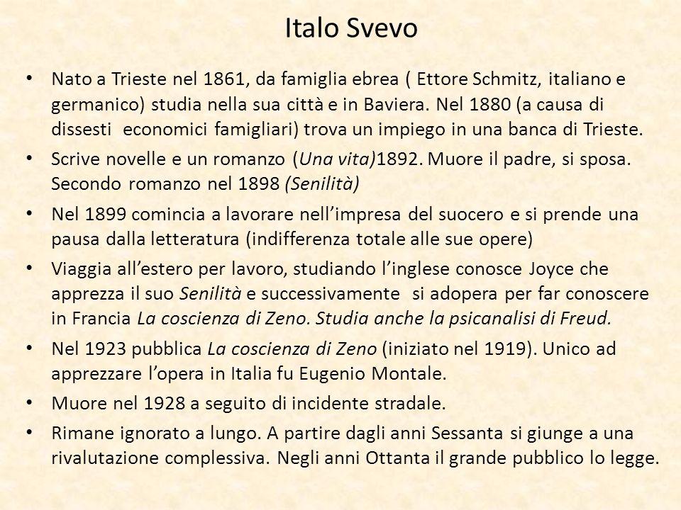 Italo Svevo Nato a Trieste nel 1861, da famiglia ebrea ( Ettore Schmitz, italiano e germanico) studia nella sua città e in Baviera. Nel 1880 (a causa