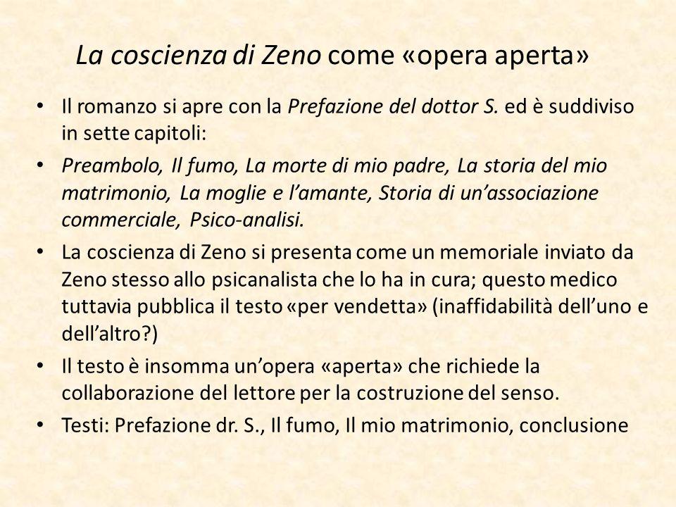 La coscienza di Zeno come «opera aperta» Il romanzo si apre con la Prefazione del dottor S. ed è suddiviso in sette capitoli: Preambolo, Il fumo, La m