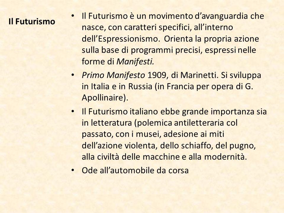Il Futurismo Il Futurismo è un movimento davanguardia che nasce, con caratteri specifici, allinterno dellEspressionismo. Orienta la propria azione sul
