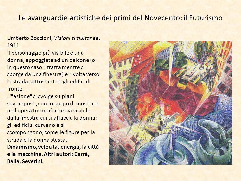 Le avanguardie artistiche dei primi del Novecento: il Futurismo Umberto Boccioni, Visioni simultanee, 1911. Il personaggio più visibile è una donna, a