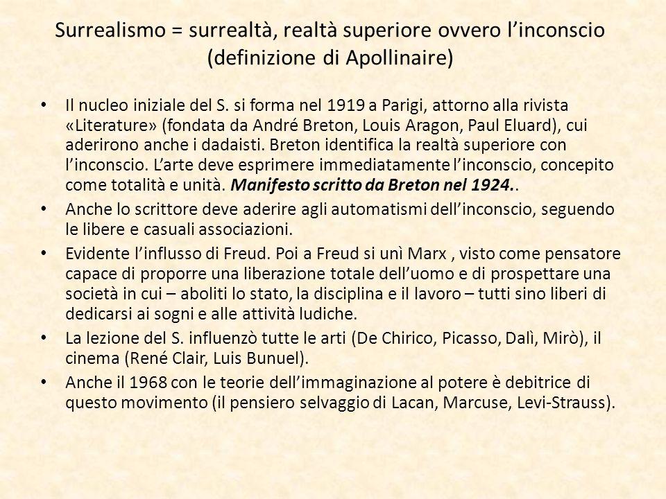 Surrealismo = surrealtà, realtà superiore ovvero linconscio (definizione di Apollinaire) Il nucleo iniziale del S. si forma nel 1919 a Parigi, attorno