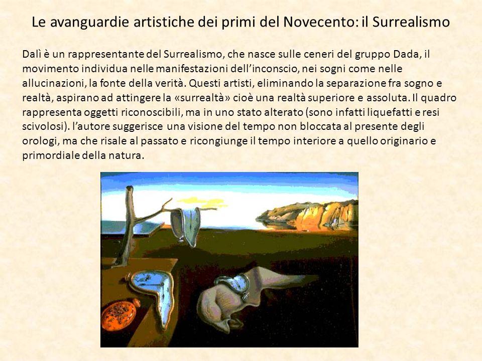 Le avanguardie artistiche dei primi del Novecento: il Surrealismo Dalì è un rappresentante del Surrealismo, che nasce sulle ceneri del gruppo Dada, il