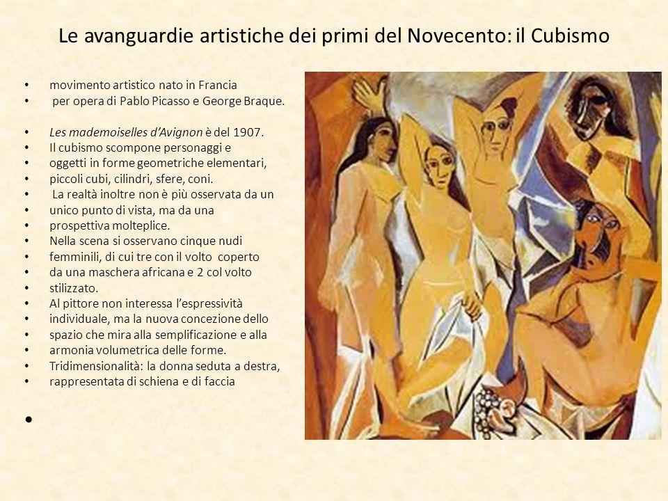 Le avanguardie artistiche dei primi del Novecento: il Cubismo movimento artistico nato in Francia per opera di Pablo Picasso e George Braque. Les made