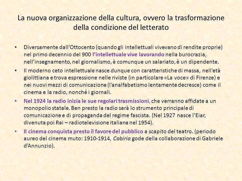 La nuova organizzazione della cultura, ovvero la trasformazione della condizione del letterato Diversamente dallOttocento (quando gli intellettuali vi