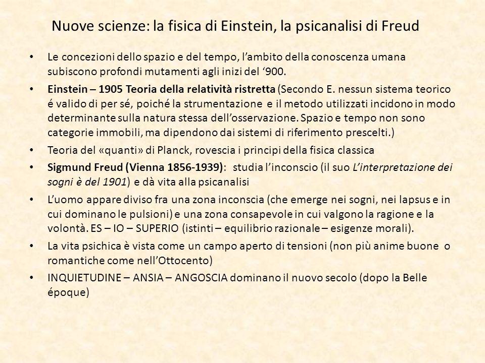 Nuove scienze: la fisica di Einstein, la psicanalisi di Freud Le concezioni dello spazio e del tempo, lambito della conoscenza umana subiscono profond