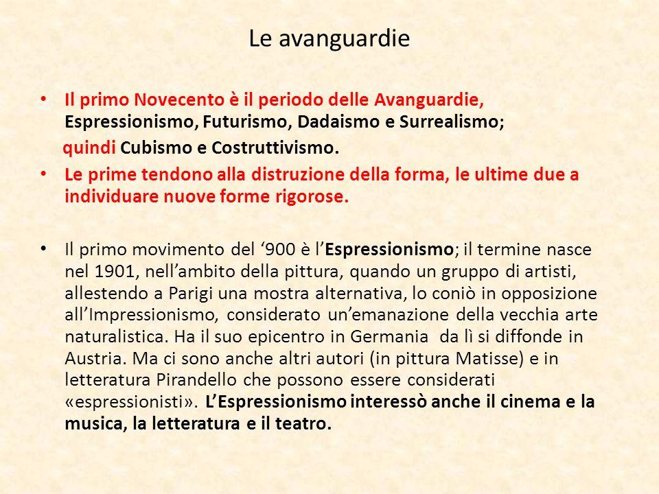 Le avanguardie Il primo Novecento è il periodo delle Avanguardie, Espressionismo, Futurismo, Dadaismo e Surrealismo; quindi Cubismo e Costruttivismo.