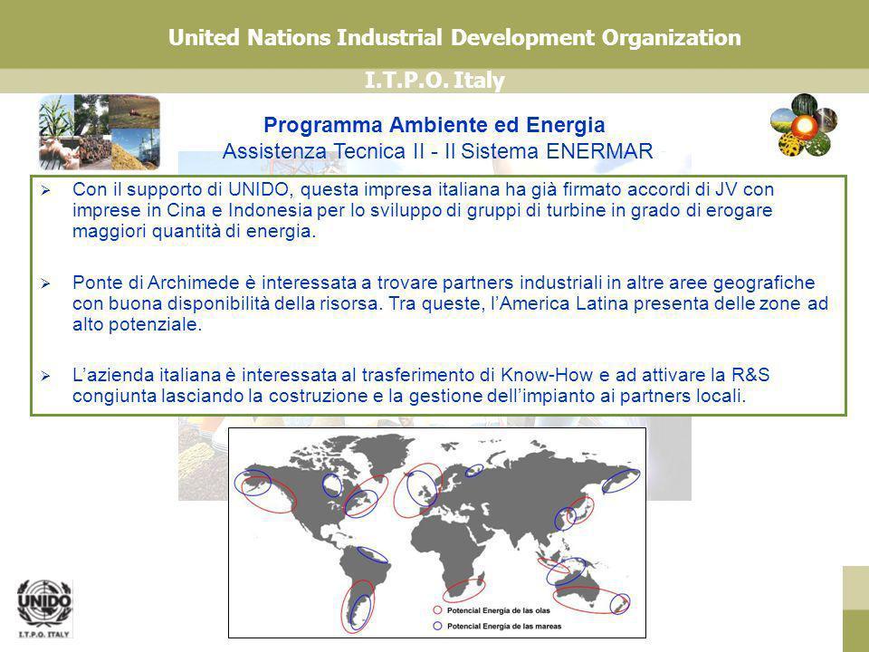 I.T.P.O. Italy United Nations Industrial Development Organization Programma Ambiente ed Energia Assistenza Tecnica II - Il Sistema ENERMAR Con il supp