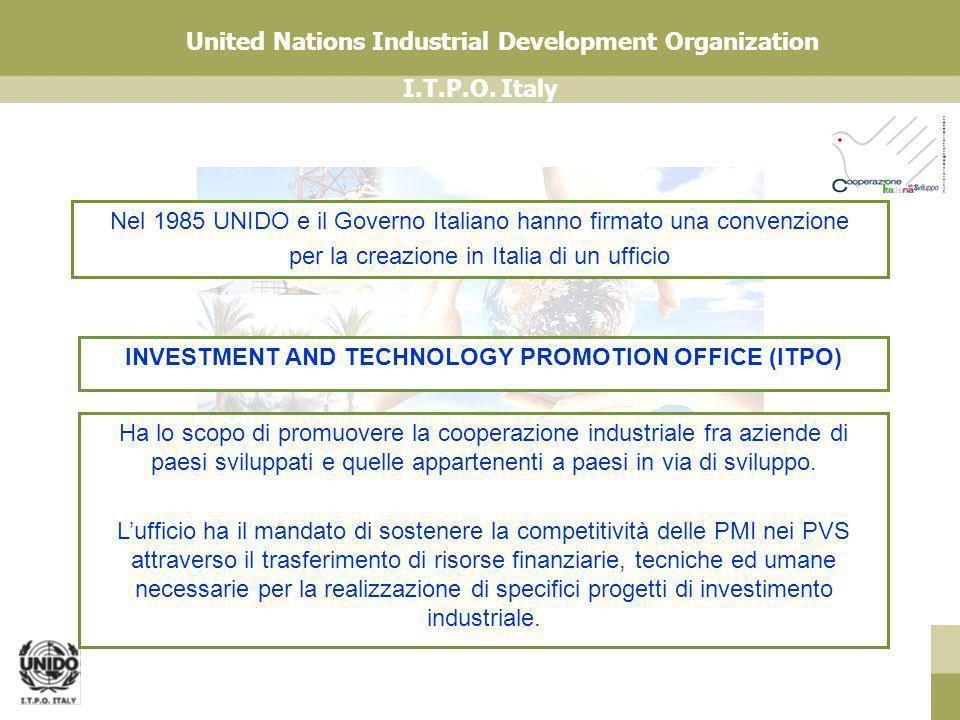I.T.P.O. Italy United Nations Industrial Development Organization Nel 1985 UNIDO e il Governo Italiano hanno firmato una convenzione per la creazione