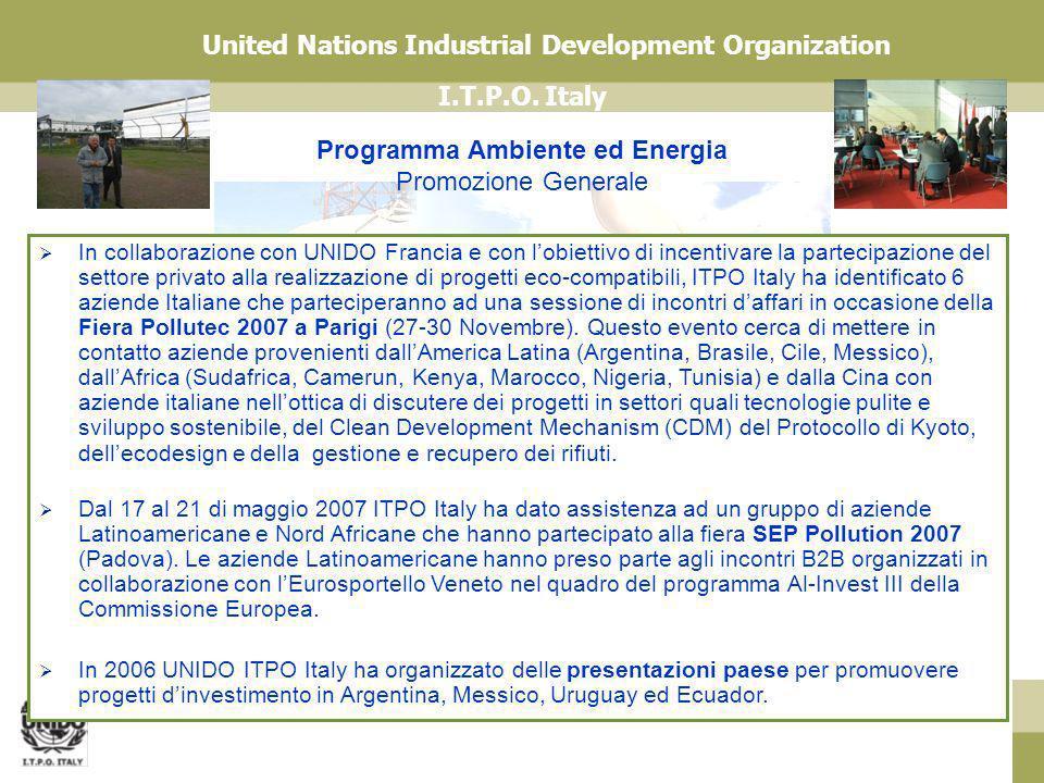 I.T.P.O. Italy United Nations Industrial Development Organization Programma Ambiente ed Energia Promozione Generale In collaborazione con UNIDO Franci