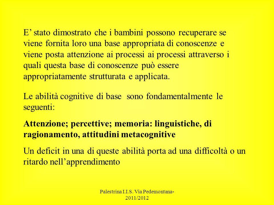 Palestrina I.I.S. Via Pedemontana- 2011/2012 E stato dimostrato che i bambini possono recuperare se viene fornita loro una base appropriata di conosce