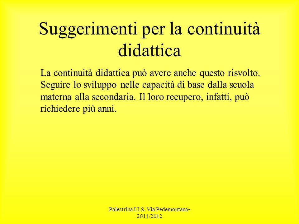 Palestrina I.I.S. Via Pedemontana- 2011/2012 Suggerimenti per la continuità didattica La continuità didattica può avere anche questo risvolto. Seguire