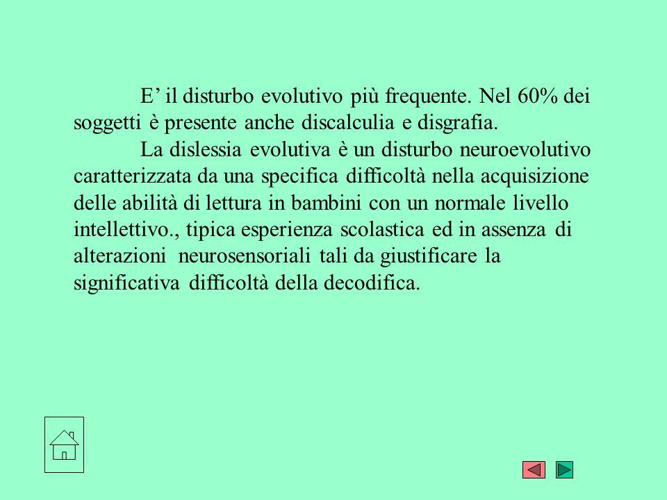 E il disturbo evolutivo più frequente. Nel 60% dei soggetti è presente anche discalculia e disgrafia. La dislessia evolutiva è un disturbo neuroevolut