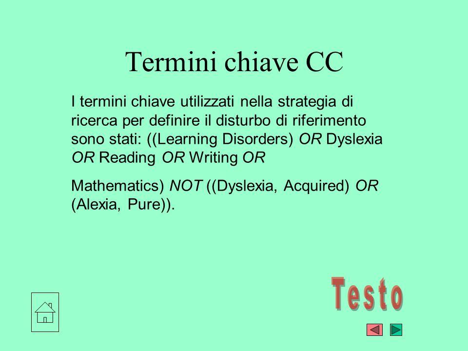Termini chiave CC I termini chiave utilizzati nella strategia di ricerca per definire il disturbo di riferimento sono stati: ((Learning Disorders) OR