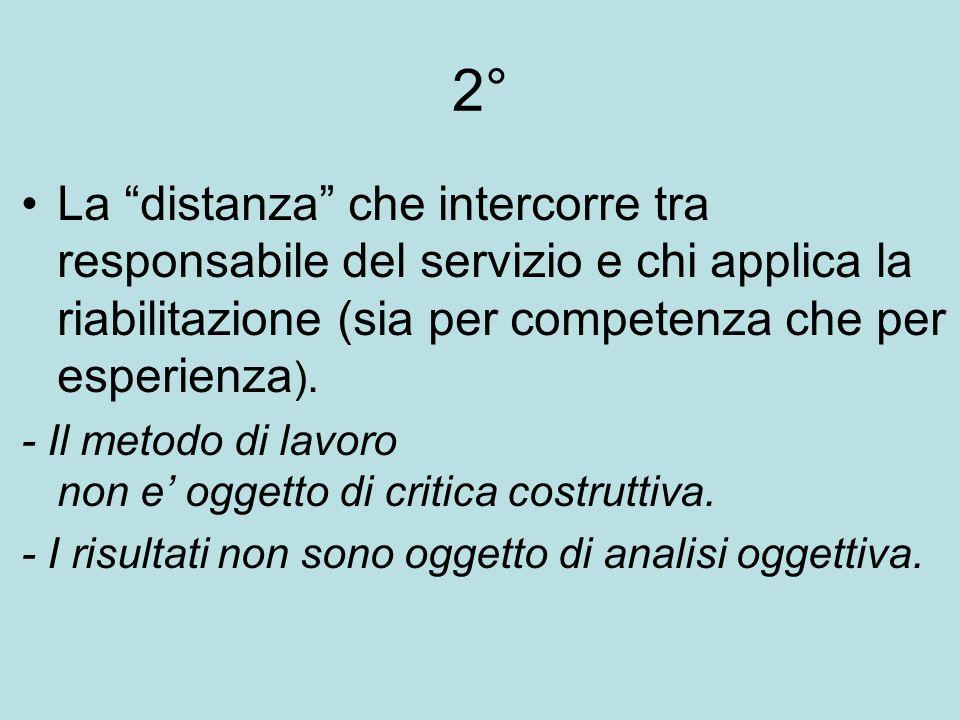 2° La distanza che intercorre tra responsabile del servizio e chi applica la riabilitazione (sia per competenza che per esperienza ).