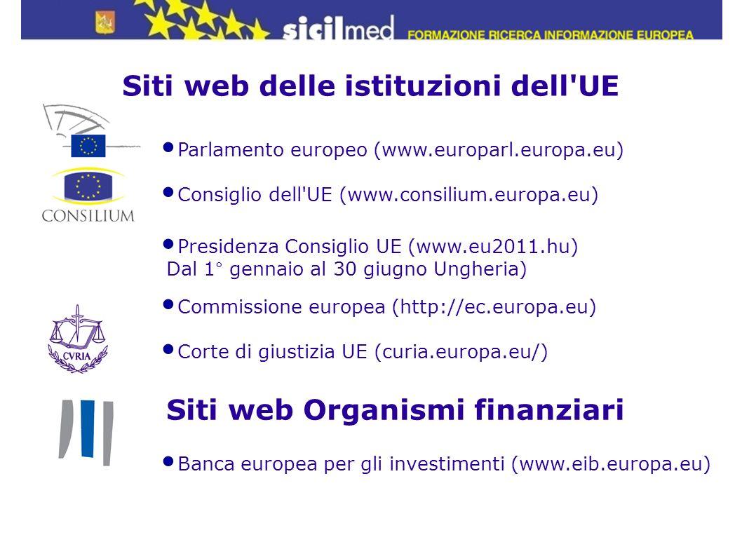 Parlamento europeo (www.europarl.europa.eu) Consiglio dell'UE (www.consilium.europa.eu) Presidenza Consiglio UE (www.eu2011.hu) Dal 1° gennaio al 30 g