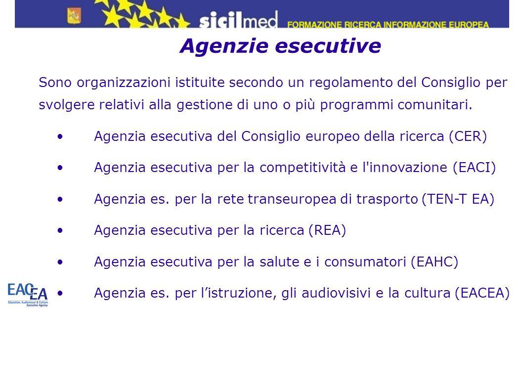Agenzie esecutive Sono organizzazioni istituite secondo un regolamento del Consiglio per svolgere relativi alla gestione di uno o più programmi comuni