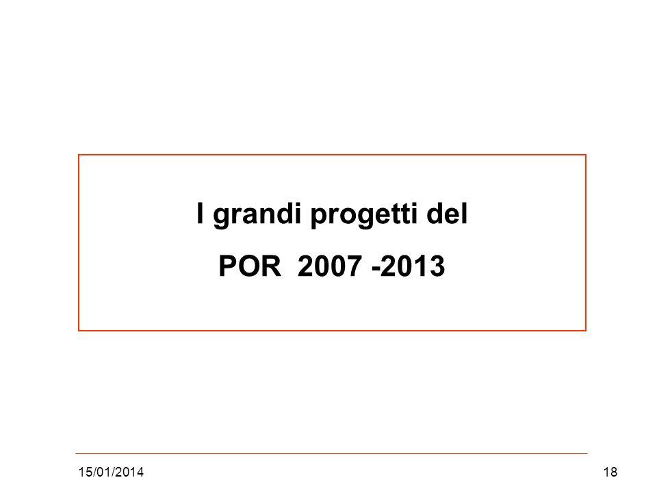 15/01/201418 I grandi progetti del POR 2007 -2013