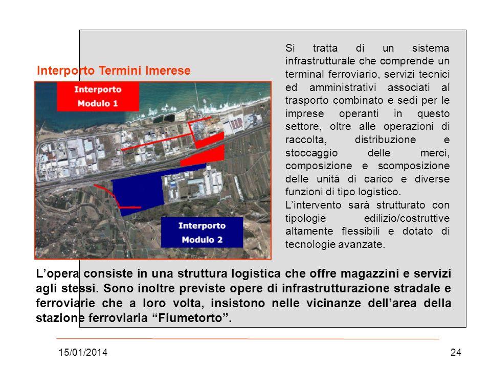 15/01/201424 Si tratta di un sistema infrastrutturale che comprende un terminal ferroviario, servizi tecnici ed amministrativi associati al trasporto