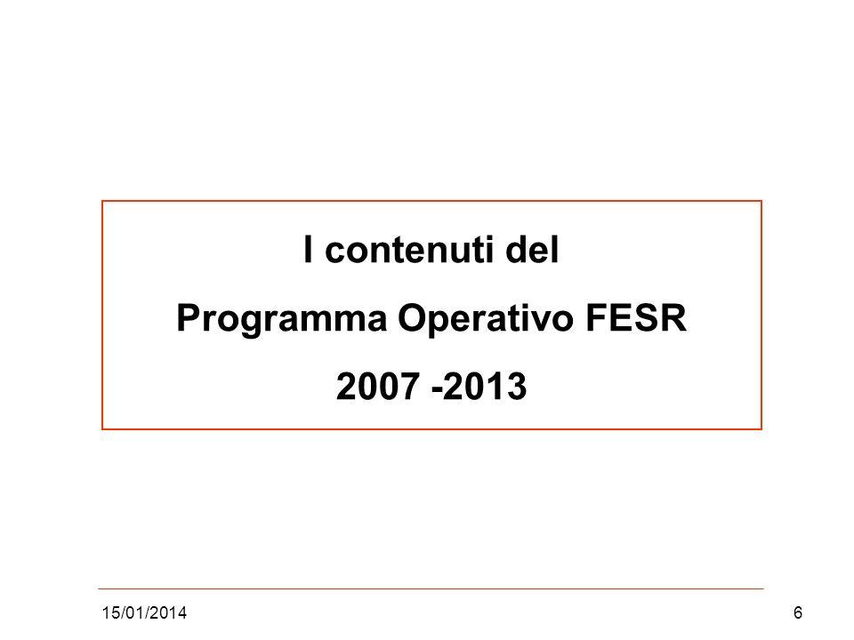 15/01/20146 I contenuti del Programma Operativo FESR 2007 -2013