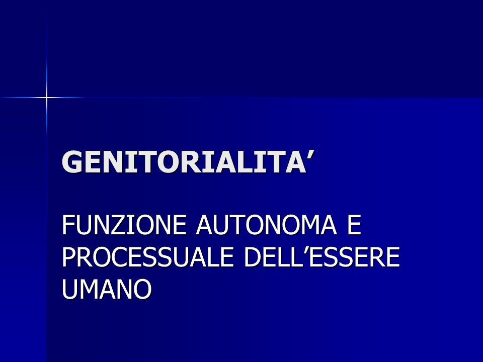 GENITORIALITA FUNZIONE AUTONOMA E PROCESSUALE DELLESSERE UMANO
