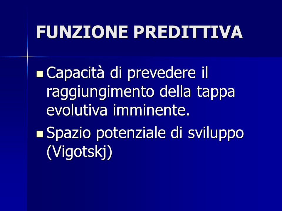 FUNZIONE PREDITTIVA Capacità di prevedere il raggiungimento della tappa evolutiva imminente. Capacità di prevedere il raggiungimento della tappa evolu