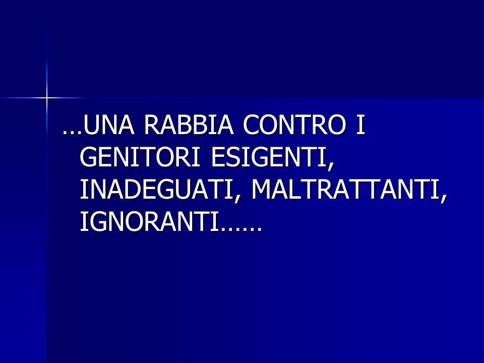 …UNA RABBIA CONTRO I GENITORI ESIGENTI, INADEGUATI, MALTRATTANTI, IGNORANTI……
