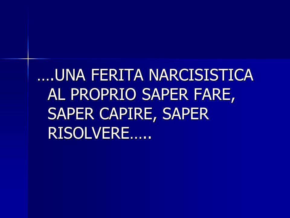 ….UNA FERITA NARCISISTICA AL PROPRIO SAPER FARE, SAPER CAPIRE, SAPER RISOLVERE…..