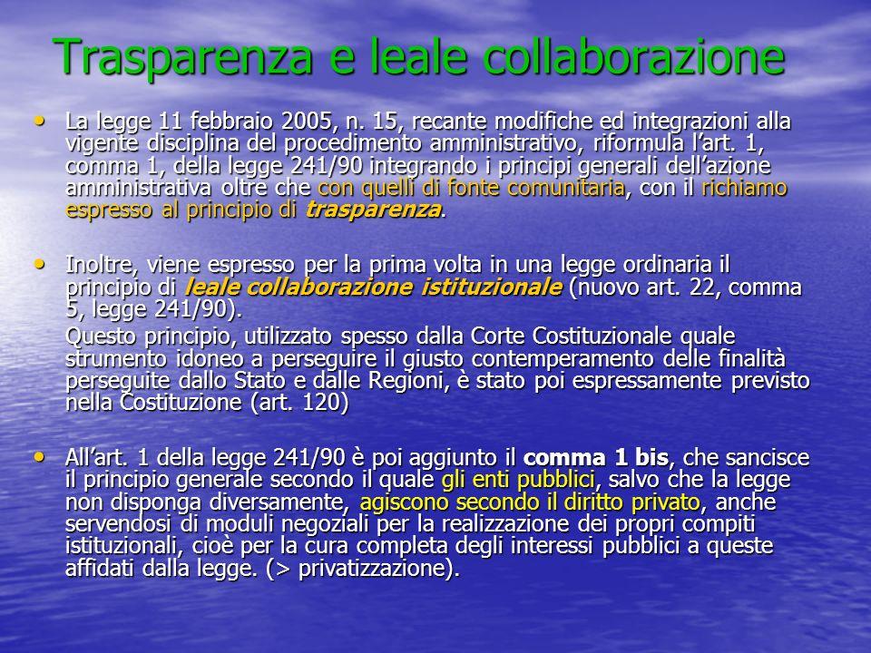 Trasparenza e leale collaborazione La legge 11 febbraio 2005, n. 15, recante modifiche ed integrazioni alla vigente disciplina del procedimento ammini