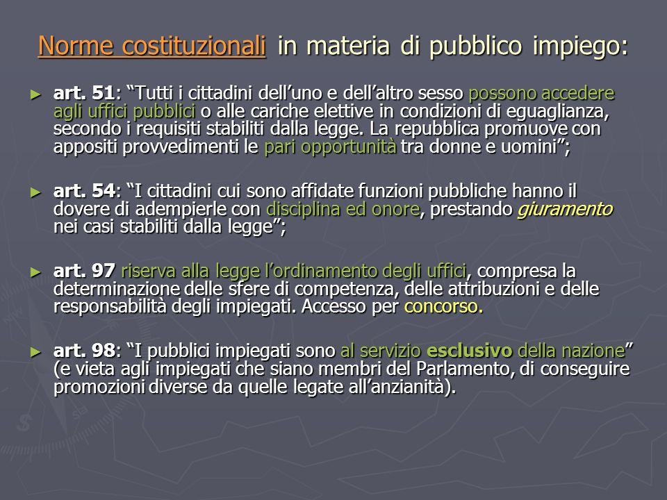 Norme costituzionali in materia di pubblico impiego: art. 51: Tutti i cittadini delluno e dellaltro sesso possono accedere agli uffici pubblici o alle