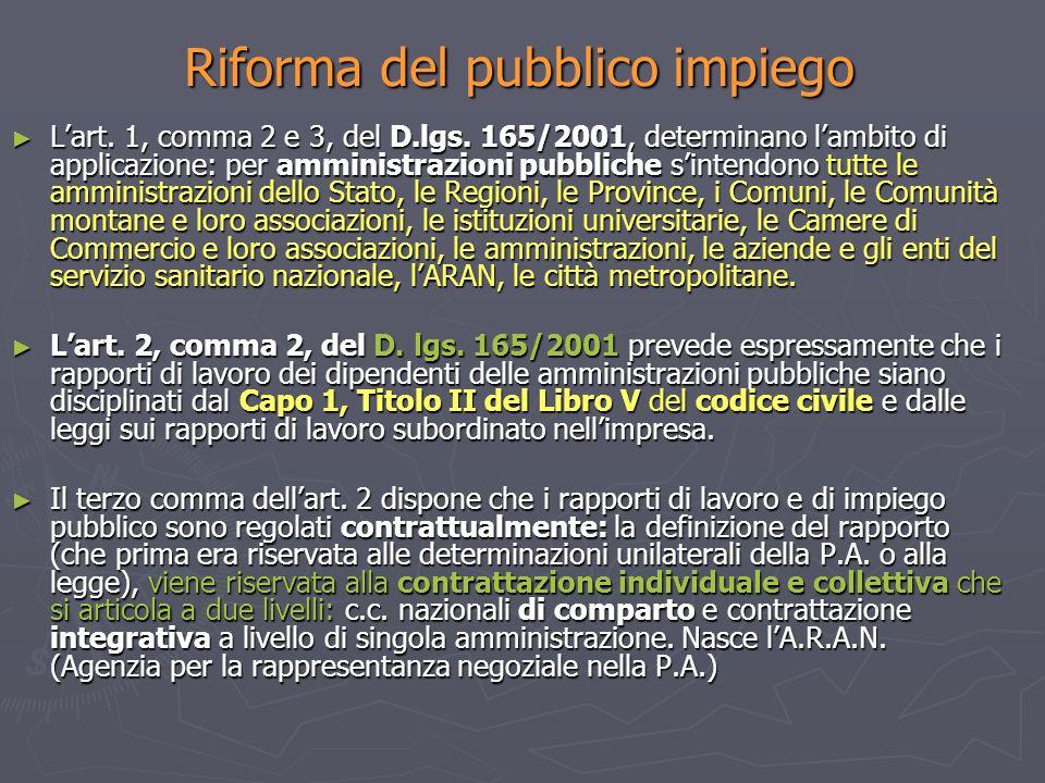 Riforma del pubblico impiego Lart. 1, comma 2 e 3, del D.lgs. 165/2001, determinano lambito di applicazione: per amministrazioni pubbliche sintendono