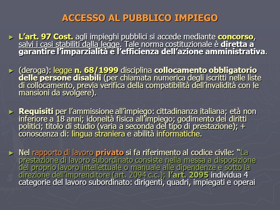 ACCESSO AL PUBBLICO IMPIEGO Lart. 97 Cost. agli impieghi pubblici si accede mediante concorso, salvi i casi stabiliti dalla legge. Tale norma costituz