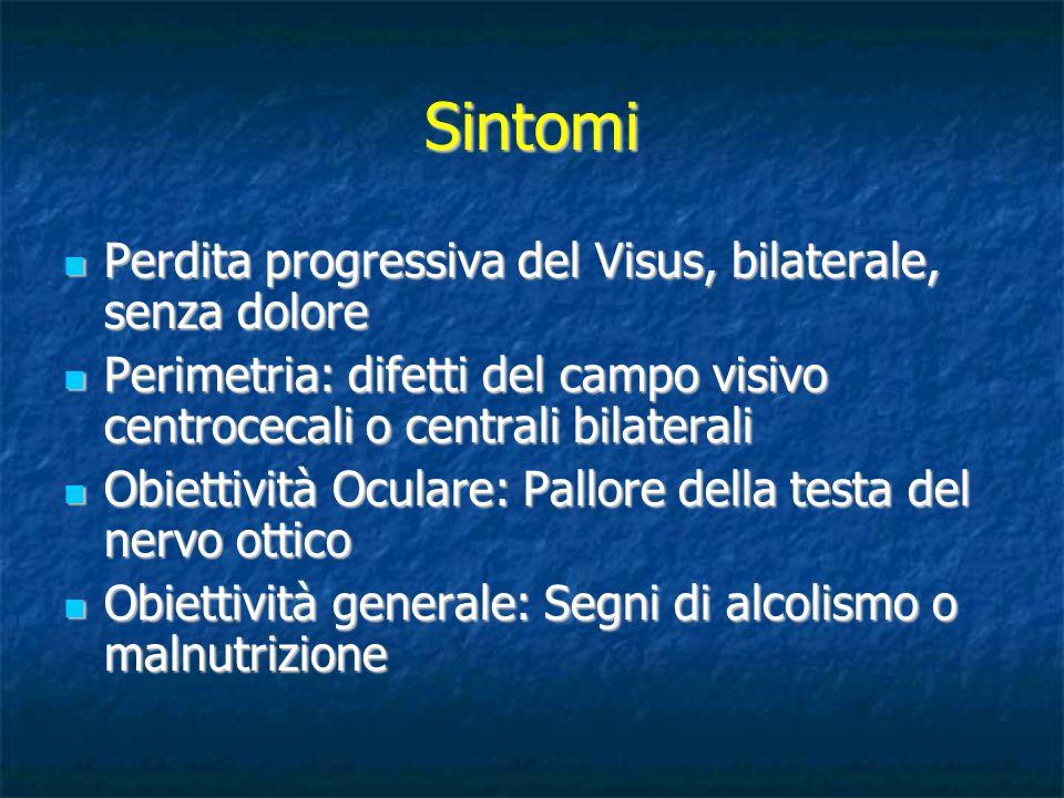 Sintomi Perdita progressiva del Visus, bilaterale, senza dolore Perdita progressiva del Visus, bilaterale, senza dolore Perimetria: difetti del campo