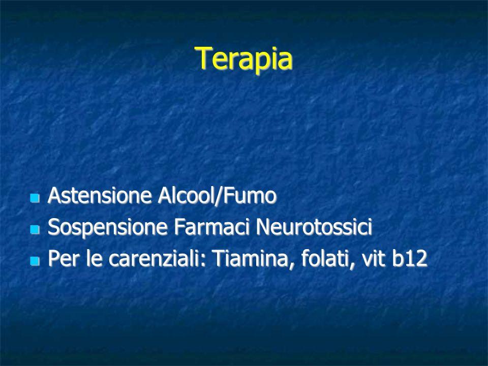 Terapia Astensione Alcool/Fumo Astensione Alcool/Fumo Sospensione Farmaci Neurotossici Sospensione Farmaci Neurotossici Per le carenziali: Tiamina, fo