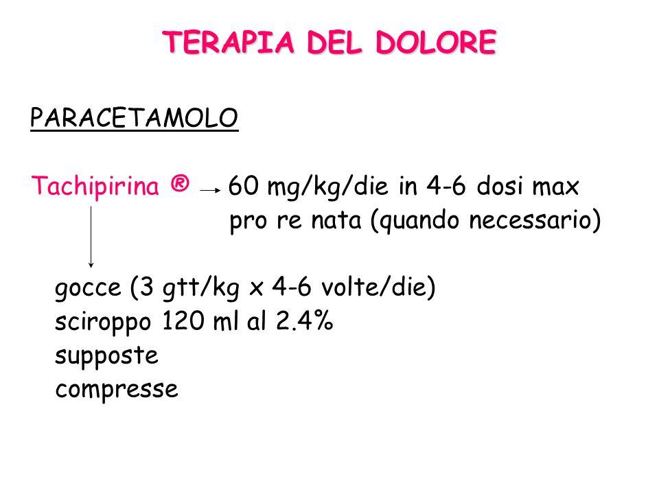 Trattamento dellotodinia Acetaminofene, ibuprofene Dolore lieve-moderato Benzocaina Effetto analgesico di breve durata Analgesici maggiori con codeina