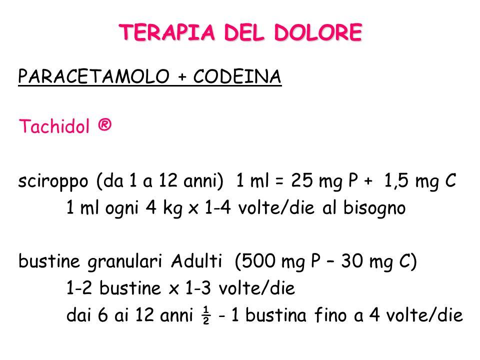 TERAPIA DEL DOLORE PARACETAMOLO Tachipirina ® 60 mg/kg/die in 4-6 dosi max pro re nata (quando necessario) gocce (3 gtt/kg x 4-6 volte/die) sciroppo 1
