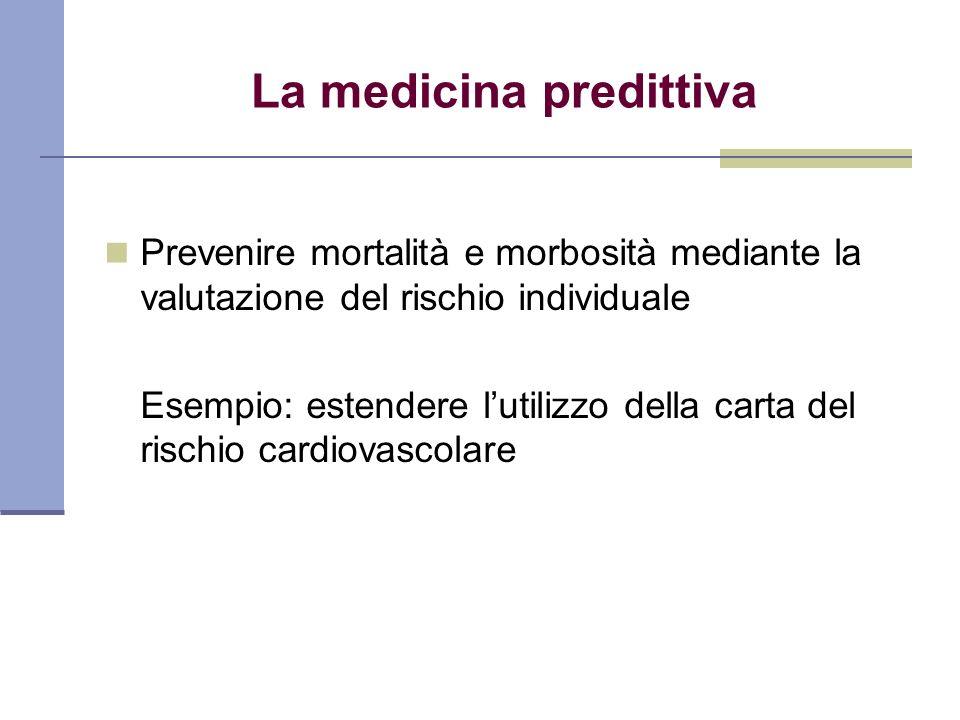 La medicina predittiva Prevenire mortalità e morbosità mediante la valutazione del rischio individuale Esempio: estendere lutilizzo della carta del ri