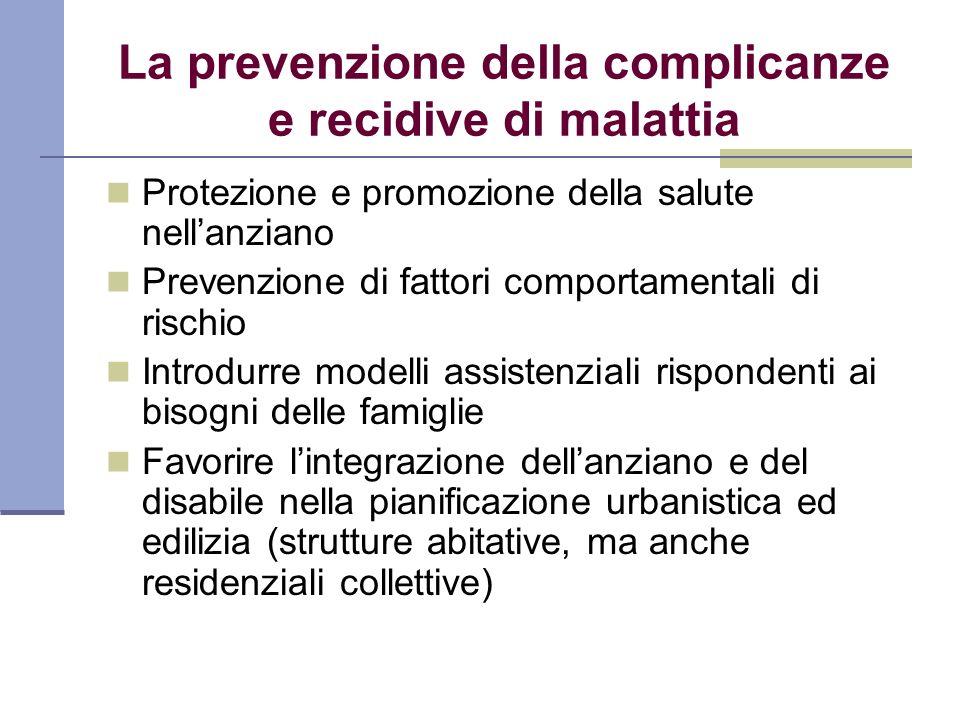 La prevenzione della complicanze e recidive di malattia Protezione e promozione della salute nellanziano Prevenzione di fattori comportamentali di ris