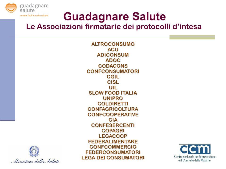Le Associazioni firmatarie dei protocolli dintesa Guadagnare Salute ALTROCONSUMOACUADICONSUMADOCCODACONSCONFCONSUMATORICGILCISLUIL SLOW FOOD ITALIA UN