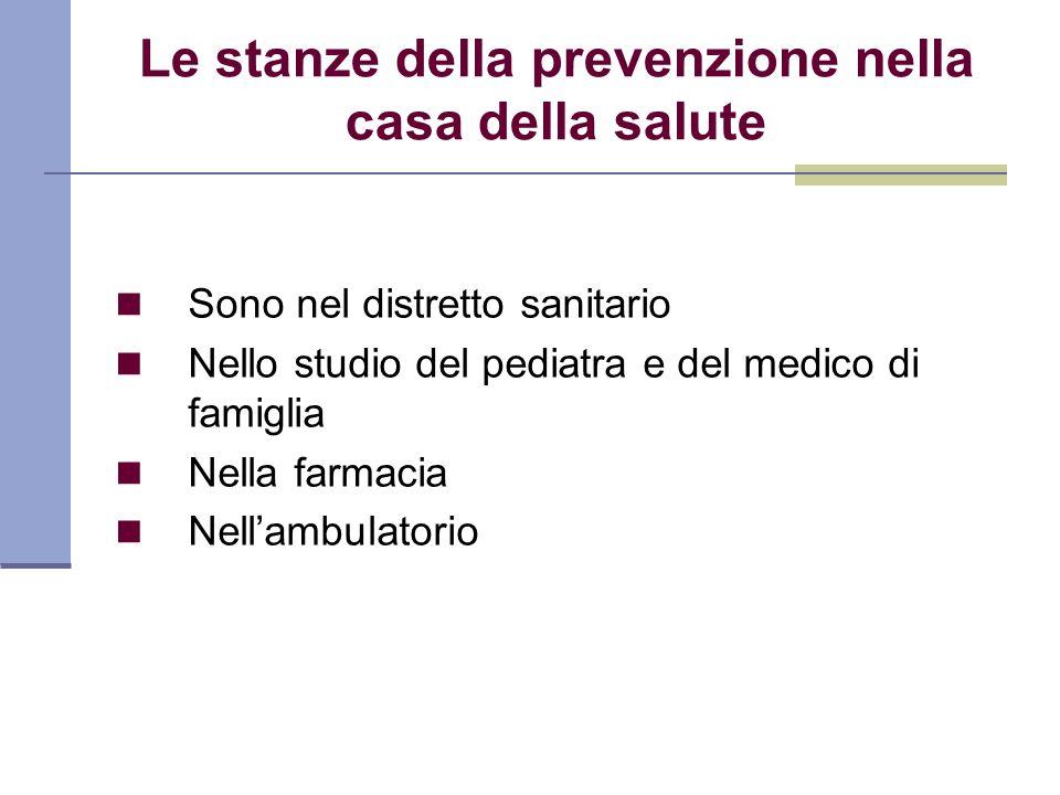 Le stanze della prevenzione nella casa della salute Sono nel distretto sanitario Nello studio del pediatra e del medico di famiglia Nella farmacia Nel