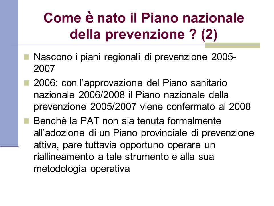 Come è nato il Piano nazionale della prevenzione ? (2) Nascono i piani regionali di prevenzione 2005- 2007 2006: con lapprovazione del Piano sanitario