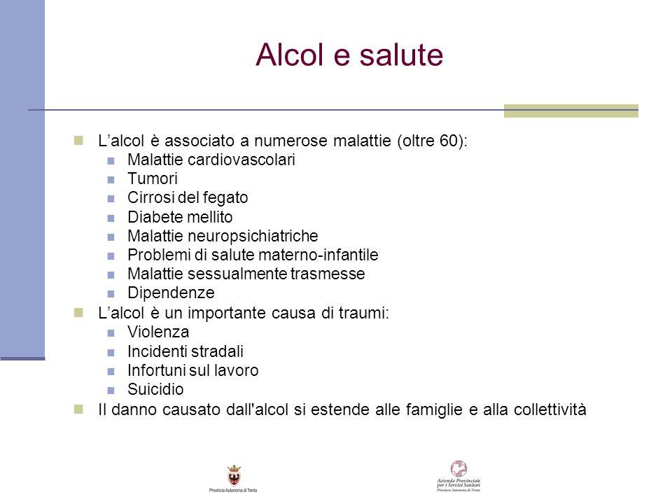Alcol e salute Lalcol è associato a numerose malattie (oltre 60): Malattie cardiovascolari Tumori Cirrosi del fegato Diabete mellito Malattie neuropsi