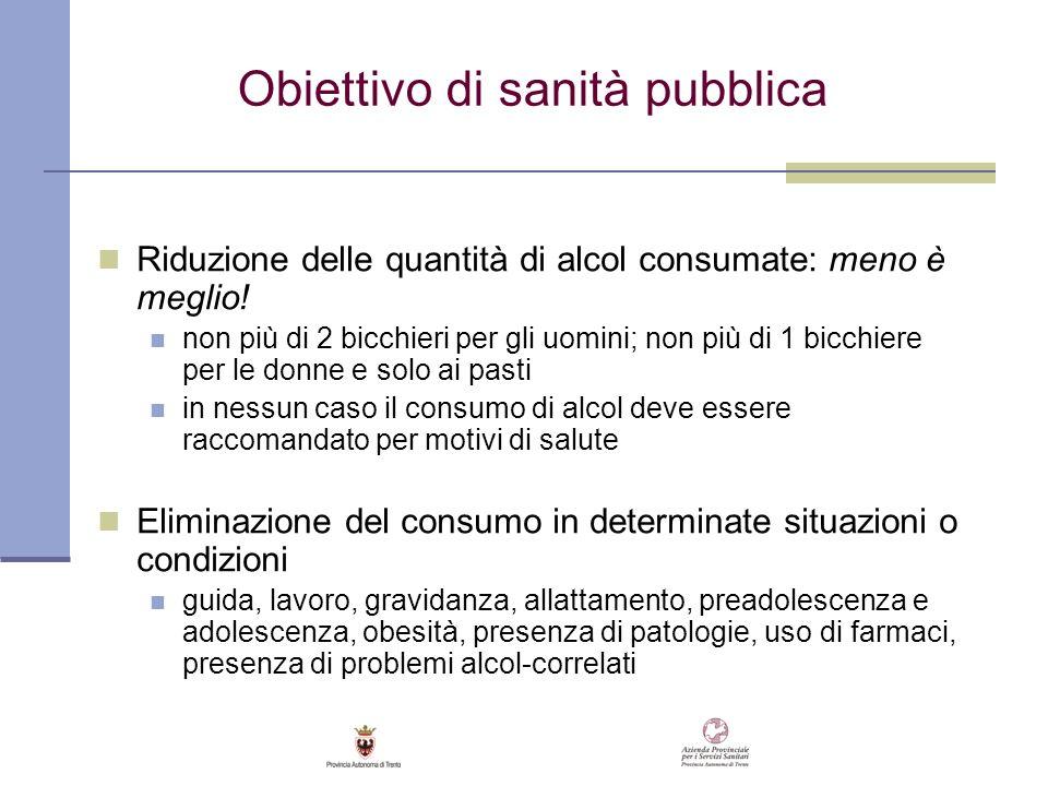Obiettivo di sanità pubblica Riduzione delle quantità di alcol consumate: meno è meglio! non più di 2 bicchieri per gli uomini; non più di 1 bicchiere
